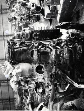 Right hand view of NO. 4 engine showing crankcase cylinder apertures through which internal exami...