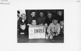 [Poland] Poland the poor children of Oswiecim waiting for a distribution of UNRRA soap and food t...