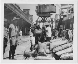 The UNRRA chartered SS Henry St George Tucker unloaded 4,531 long tons of ammonium sulphate at Ke...