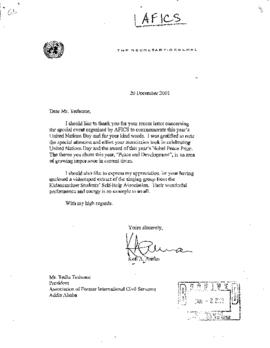 UN General - AFICS: Association of Former Int'l Civil Servants (NYC) 1997 - 2001.