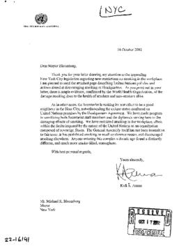 U.N. General - NYC Commission to U.N. (and all NYC-related correspondence) 2002