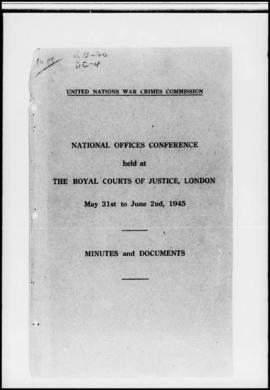 UNWCC - National Offices Conference, London, 31 May-June 1945, Minutes and Documents