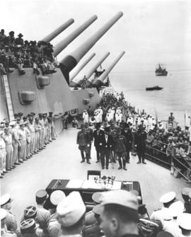 "Jap ""Surrender Delegation"" Boards USS Missouri for Ceremony"