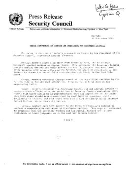 DPA- Security Council Matters - General (Jan - Sept) 2001