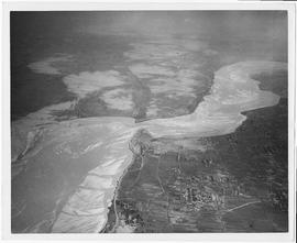 Aerial view of Yellow River Project showing in left foreground the completed earthen dam, 3387 fe...