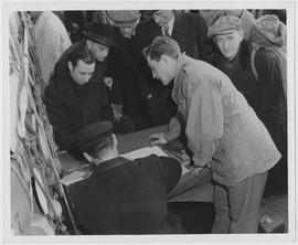 Eighty-three European refugees being repatriated by UNRRA sailed aboard the Marechal Joffre for M...