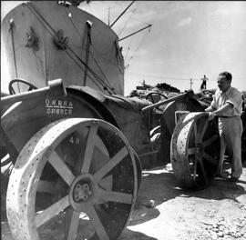 [Greece] Farm tractors, checked by the UNRRA director of the Athens region on their arrival in Gr...