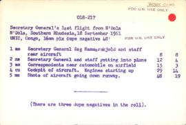 Congo - last film of Dag Hammarskjold (take off for N'Dola) - original card catalogue