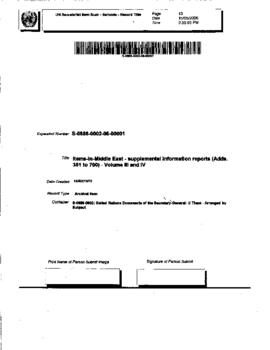 Middle East - supplemental information reports (Adds. 351 to 700) - Volume III and IV