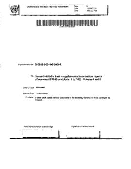 Middle East - supplemental information reports (Document S/7930 and Adds. 1 to 350) - Volume I an...