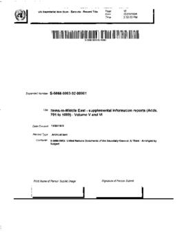 Middle East - supplemental information reports (Adds. 701 to 1099) - Volume V and VI