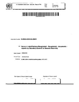 Bangladesh - Documents - reports by Secretary-General to General Assembly