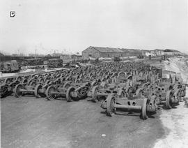 CNRRA / 6 The railroad yard at Woosung, where hundreds of UNRRA freight cars were assembled as pa...