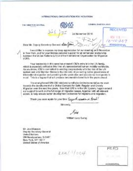 External relations - correspondence of well-wishes and appreciations (Deputy Secretary-General)
