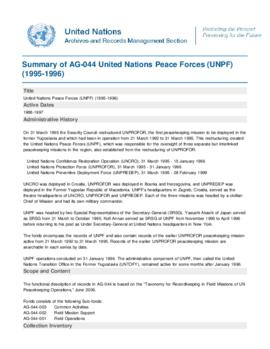 United Nations Peace Forces (UNPF) (1995-1996)