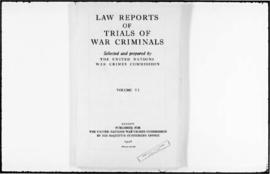 UNWCC - Law Reports of Trials of War Criminals, containing summaries of the trials and a comment ...
