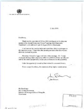 Scheduling - invitations to the Deputy Secretary-General