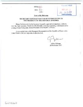 External relations - messages of condolence and sympathy (Executive Office of the Secretary-General)