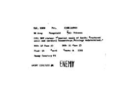 POW Cemetary Number 2 - Pusan, Korea - Index Card of Enemy Deceased - Sorted by Name - T