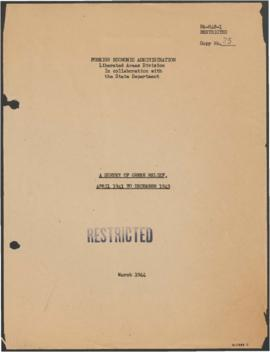 Foreign Economic Administration, - US Liberated Areas Division - A Survey of Greek Relief, April ...