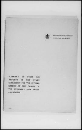 UNWCC - Publications - War Crimes Submitted by Governments - Yugoslavia - Summary of First Six Re...