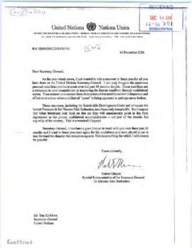 External relations - correspondence on the departure of the Secretary-General