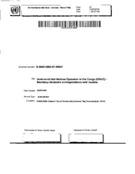 United Nations Operation in the Congo (ONUC) - Secretary-General's correspondence with Austria