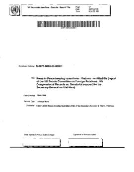 Report of the United States Senate Committee on Foreign Relations. Congressional Records re: Sena...