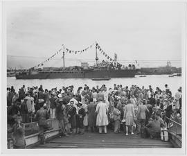 The first 250 Italians to be repatriated under UNRRA's China program are waiting here to board the gaily decorated Eritrea, bound for Taranto, Italy