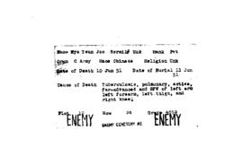 POW Cemetary Number 2 - Pusan, Korea - Index Card of Enemy Deceased - Sorted by Name - R