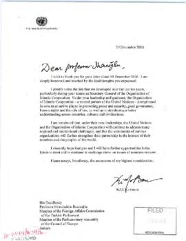 External relations - correspondence on the Secretary-General's departure