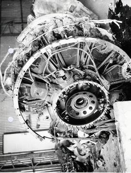 Front view of NO. 4 engine after reduction gear housing had been removed. Note little fire damage...