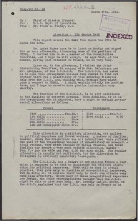 Displaced Persons Division - Copy Welfare Reports from France