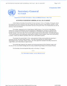 Trip to Europe, 28 August - 2 September 2008 - Turin, Italy, 28-31 August 2008 - United Nations S...