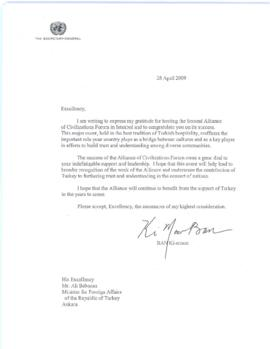 Trip to Europe and the Middle East, 26 March - 6 April 2009 - Istanbul, Republic of Turkey, 5-6 April 2009 - thank you letters