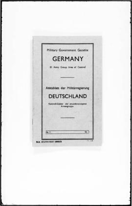 UNWCC - Allied Military Forces Military Government Gazette, Germany, 21 Army Group Area of Contro...