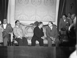 [Italy] UNRRA Director General F.H. LaGuardia, in earnest discussion with the Italian prime minister Alcide De Gasperi at Viminale Palace.