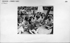 "[Italy] These children are at one of the six summer colonies organised by the Italian ""Catholic Action"" at the Campo dei Cavalieri di Colombo at Via Aurelia in Rome."
