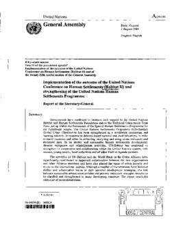Other UN Bodies - UNCHS: UN Centre for Human Settlements  (HABITAT) 2004
