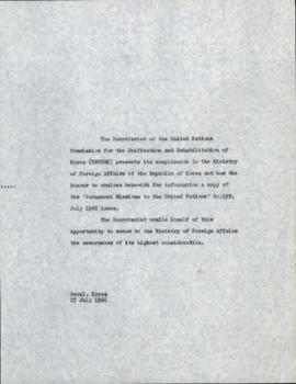Administration - ADM/015 - Diplomatic Correspondence with the Republic of Korea