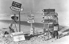 "German and Italian ""temporary"" signboards on the Alexandria-Mersa Matruh road"