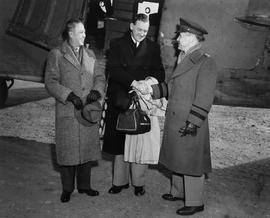CNRRA / 345 Commander RGA Jackson, senior deputy director general of UNRRA, is greeted on arrival...