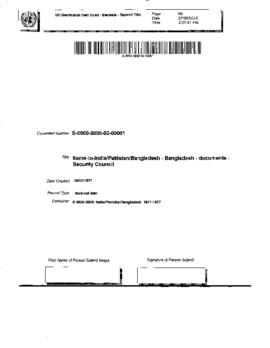 Bangladesh - Documents - Security Council