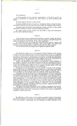 Terms of League of Nations Mandates - A/70
