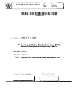 United Nations Operation in the Congo (ONUC) - Secretary-General's correspondence with Australia