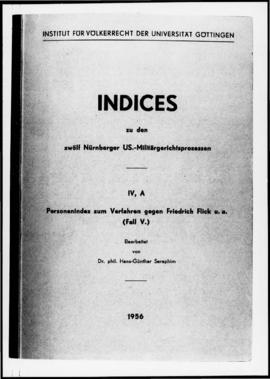 UNWCC - Indexes to the 12 Nuremberg U.S. Military Tribunal Proceedings ( in German, bound volumes...