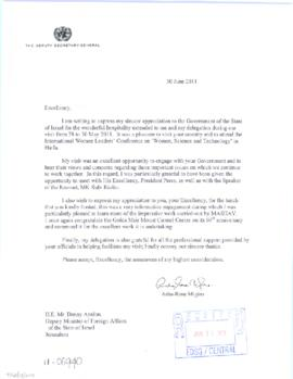 Trip to State of Israel, 28-30 May 2011 - thank you letter