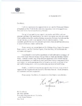Trip to Australia, New Zealand, Republic of Kiribati and Honiara, Solomon Islands, 3-9 September 2011 - thank you letters