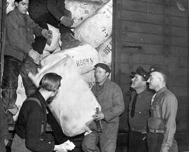 [Germany] : UNRRA 3129 : Munich, Germany, The first shipment of UNRRA clothing from the United States for displaced persons assembly centers in Germany is pictured here as it is unloaded from a train in the UNRRA warehouse Munich.
