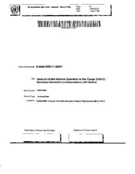 United Nations Operation in the Congo (ONUC) - Secretary-General's correspondence with Burma